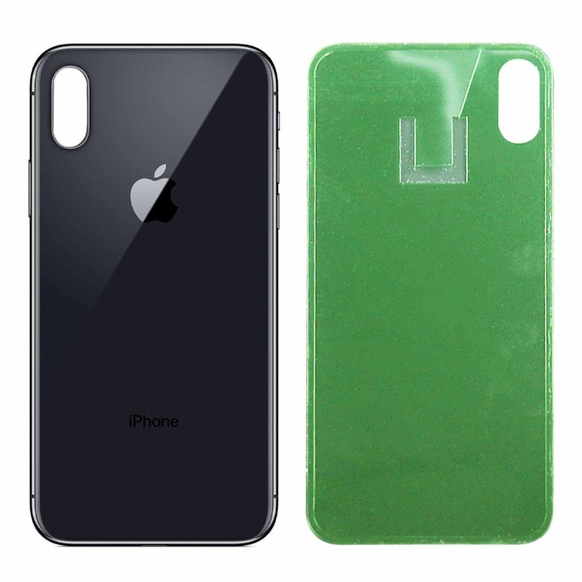 Levně Apple iPhone XS - Zadní sklo housingu - černé